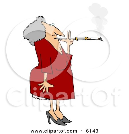 Old Woman Smoking a Cigarette on a Long Filter Clipart Picture by djart