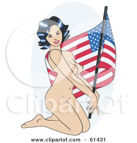Royalty-free (RF) Clipart Illustration of a Nude Pinup Woman Kneeling And Posing With An American Flag by r formidable