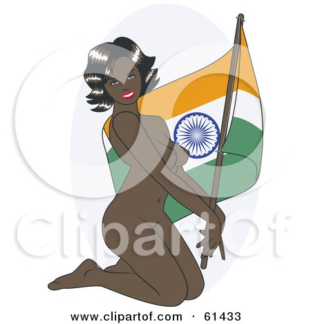 Royalty-free (RF) Clipart Illustration of a Nude Pinup Woman Kneeling And Posing With An India Flag by r formidable