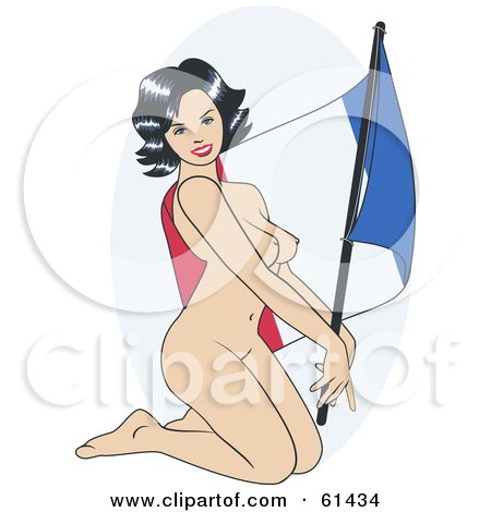 Royalty-free (RF) Clipart Illustration of a Nude Pinup Woman Kneeling And Posing With A France Flag by r formidable