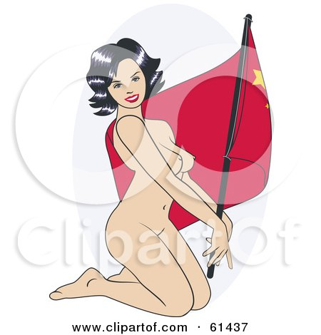 Royalty-free (RF) Clipart Illustration of a Nude Pinup Woman Kneeling And Posing With A China Flag by r formidable