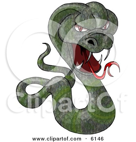 Green Cobra Snake Baring its Fangs and Forked Tongue Clipart Picture by djart