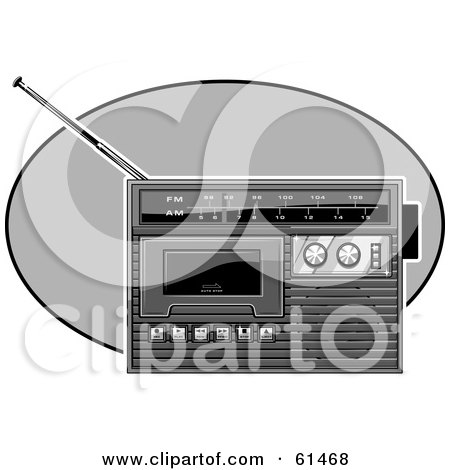 Royalty-free (RF) Clipart Illustration of a Black And White Radio by r formidable