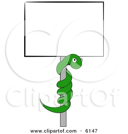 Green Snake Coiled on a Pole to a Blank Sign Clipart Picture by djart