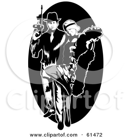 Royalty-free (RF) Clipart Illustration of a Gangster Couple With A Tommy Gun by r formidable