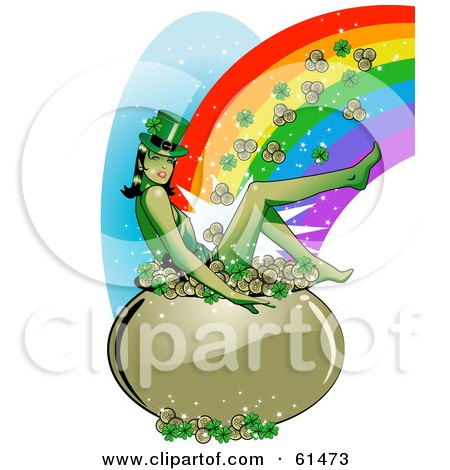 Royalty-free (RF) Clipart Illustration of a Sexy Leprechaun Woman Sitting In A Pot Of Gold And Clovers At The End Of A Rainbow by r formidable