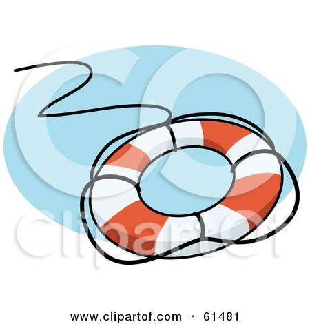Royalty-free (RF) Clipart Illustration of a Life Preserver With A Black Rope by r formidable