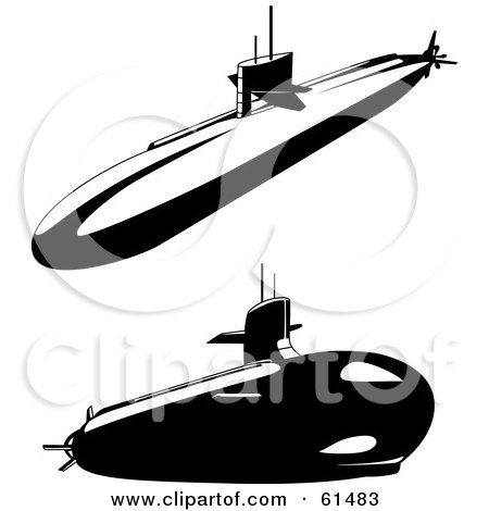 Royalty-free (RF) Clipart Illustration of a Digital Collage Of Two Black And White Submarines by r formidable