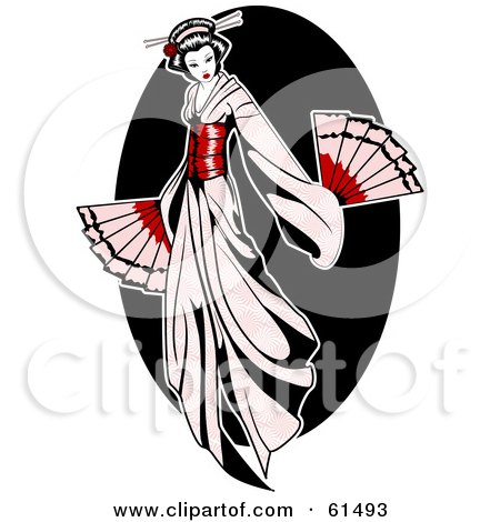 Royalty-free (RF) Clipart Illustration of a Beautiful Geisha Woman In A Pale Pink Dress, Holding Fans by r formidable