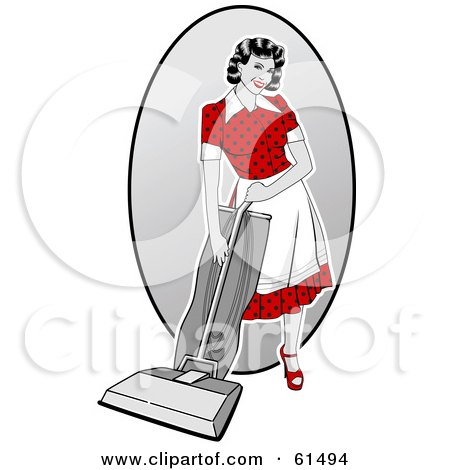 Royalty-free (RF) Clipart Illustration of a Sexy Retro Woman Vacuuming by r formidable