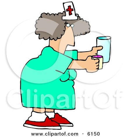 Female Nurse Holding a Pill Cup and a Glass of Water For a Patient at a Hospital Posters, Art Prints