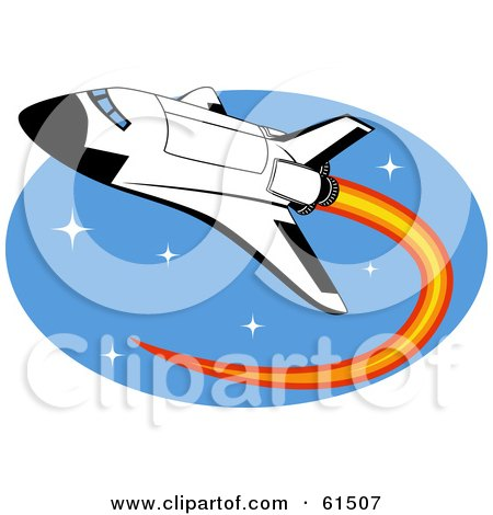 Royalty-free (RF) Clipart Illustration of a Space Shuttle Shooting Through Space With Flames by r formidable