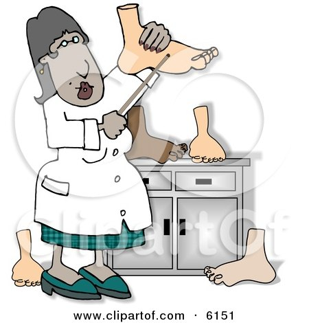 Female African American Podiatrist Doctor Inspecting Feet Clipart Picture by djart