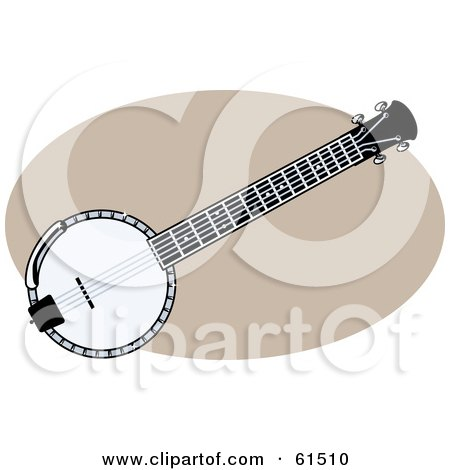 Royalty-free (RF) Clipart Illustration of a Black And White Banjo by r formidable