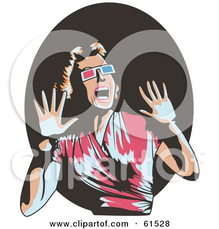 Royalty Free RF Clipart Illustration Of A Scared Retro Woman Wearing 3d Glasses Screaming And Holding Her Hands Up