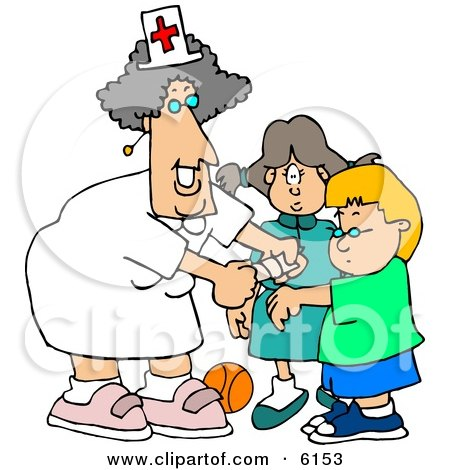 Female School Nurse Putting a Bandage on a Boo-Boo of a School Boy Clipart Picture by djart