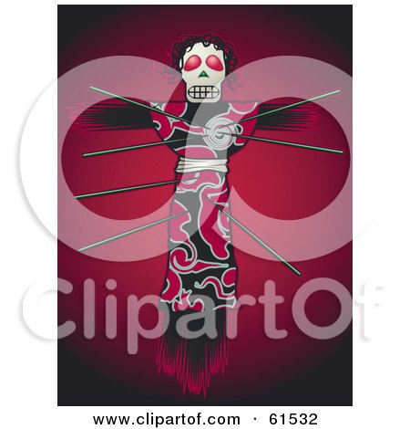 Royalty-free (RF) Clipart Illustration of Pins In A Creepy Voodoo Doll On A Red Background by r formidable