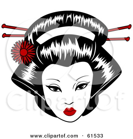 Royalty-free (RF) Clipart Illustration of a Pretty Geisha Face With Pins In Her Hair by r formidable