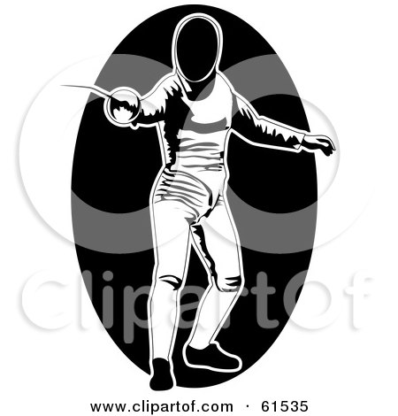 Royalty-free (RF) Clipart Illustration of a Black And White Fencer In Uniform by r formidable