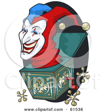Royalty-free (RF) Clipart Illustration of a Creepy Jack In The Box Head Popping Out by r formidable
