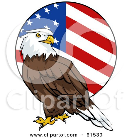 Royalty-free (RF) Clipart Illustration of a Bald Eagle In Front Of A Rounded American Flag by r formidable