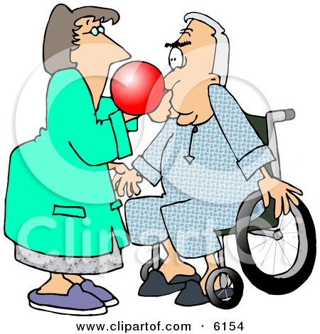 Female Nurse Giving A Male Senior Patient In A Wheelchair A Test With A Respiratory Therapy Balloon Clipart Picture