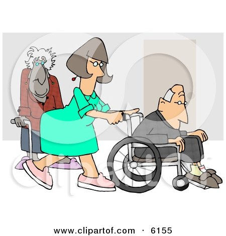 Female Nurse Pushing a Senior Man's Wheelchair Past an Old Lady Using a Cane in the Hospital Clipart Picture by djart