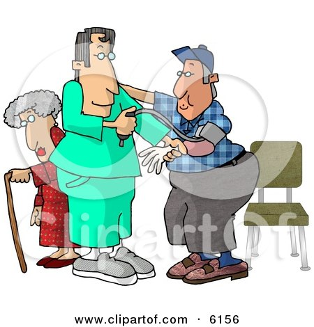 Male Nurse Taking a Man's Blood Pressure Reading While a Senior Woman Walks With a Cane in the Hospital Clipart Picture by djart