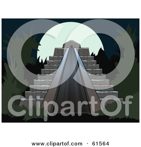 Royalty-free (RF) Clipart Illustration of a Full Moon Behind A Mesoamerican Step Pyramid by r formidable