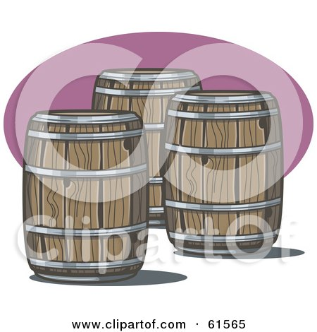 Royalty-free (RF) Clipart Illustration of Three Wooden Whiskey Barrels by r formidable