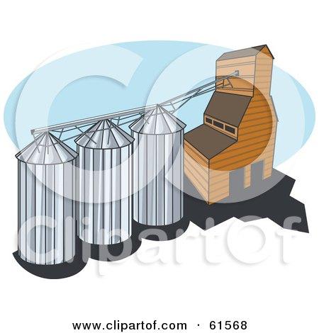 Royalty-free (RF) Clipart Illustration of a Grain Elevator ...