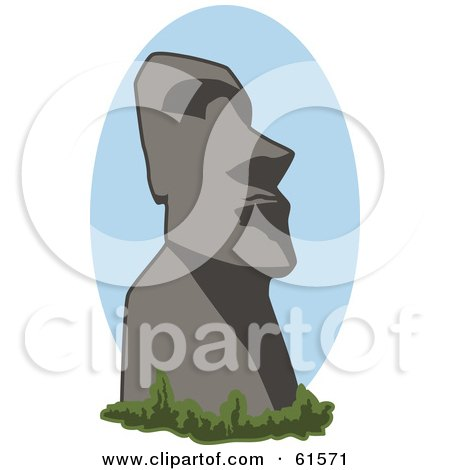 Royalty-free (RF) Clipart Illustration of a Historical Easter Island Moai Statue by r formidable
