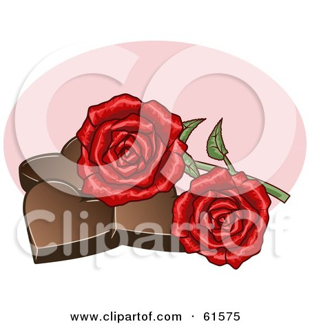 Royalty-free (RF) Clipart Illustration of Two Red Roses Resting On Chocolate Hearts by r formidable