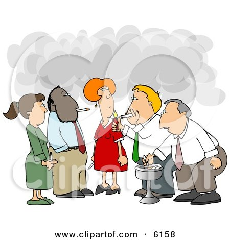 Group of Co-Workers Taking a Cigarette Break Clipart Picture by djart