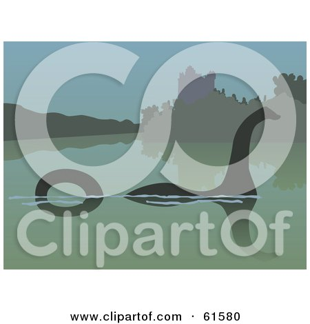 Royalty-free (RF) Clipart Illustration of a Silhouetted Loch Ness Monster In The Still Waters by r formidable