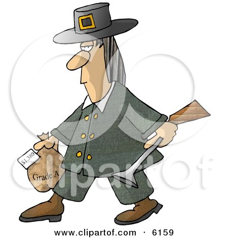 Male Pilgrim Carrying a Blunderbuss and a Grade A Frozen Turkey For Thanksgiving Dinner Clipart Picture by djart