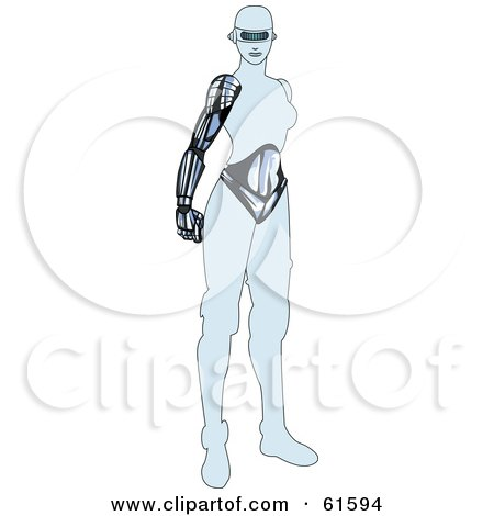 Royalty-free (RF) Clipart Illustration of a Futuristic Robot Woman Standing by r formidable