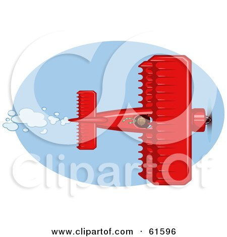 Royalty-free (RF) Clipart Illustration of a Red Biplane Flying In A Blue Sky by r formidable