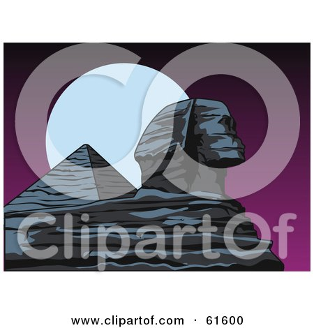 Royalty-free (RF) Clipart Illustration of a Full Moon Behind An Egyptian Sphynx And Pyramid by r formidable