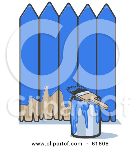 Royalty-free (RF) Clipart Illustration of a Brush Resting On A Can Of Paint By A Blue Painted Fence by r formidable