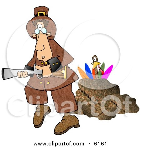 Turkey Behind a Rock, Hiding From a Pilgrim With a Blunderbuss Gun Clipart Picture by djart