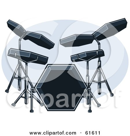 Royalty-free (RF) Clipart Illustration of a Black Electric Drum Set by r formidable