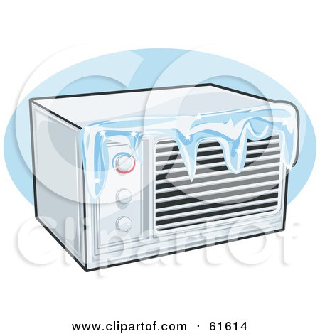 Royalty-free (RF) Clipart Illustration of an Iced Over Air Conditioner by r formidable