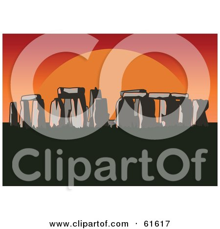 Royalty-free (RF) Clipart Illustration of a Large Red And Orange Sun Setting Behind Stonehenge by r formidable