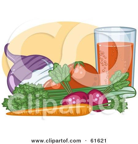 Organic Veggies By A Glass; Turnip, Tomatoes, Celery, Carrot And Radish Posters, Art Prints
