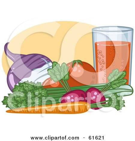Royalty-free (RF) Clipart Illustration of Organic Veggies By A Glass; Turnip, Tomatoes, Celery, Carrot And Radish by r formidable