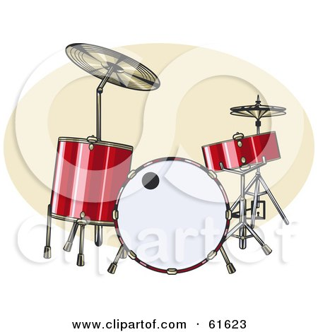 Royalty-free (RF) Clipart Illustration of a Red Acoustic Drum Set by r formidable