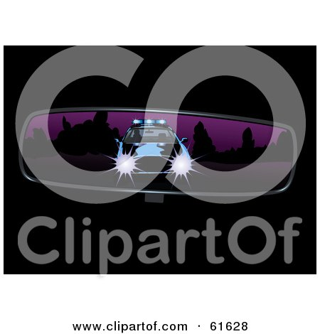 Royalty Free RF Clipart Illustration Of A Cop Pulling Behind A Vehicle Shown In The Rear View Mirror
