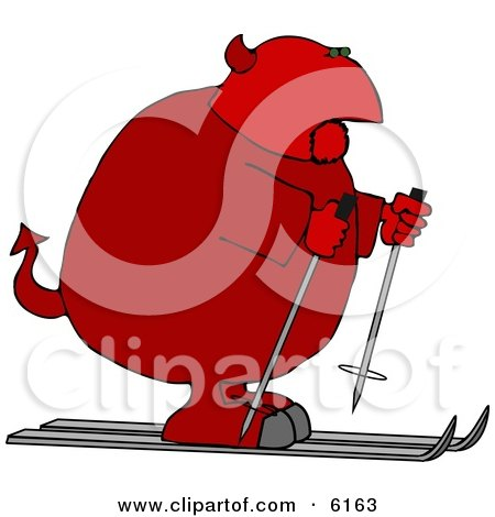 Fat Devil On Skis Clipart Picture