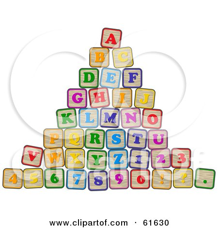 Royalty-free (RF) Clipart Illustration of a Pyramid Of Stacked Alphabet And Number Blocks by r formidable